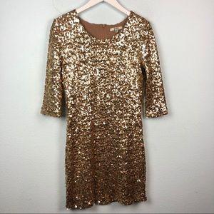 BB Dakota gold sequin glittery holiday mini dress